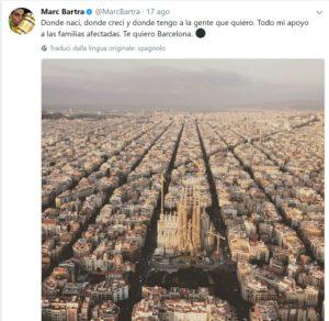 bartra, Video – La dedica commovente di Bartra per le vittime della 'sua' Barcellona