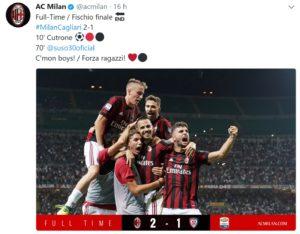 milan, Top e flop Milan-Cagliari: sotto il sole di Cutrone. Il Cagliari…. Sbarella!