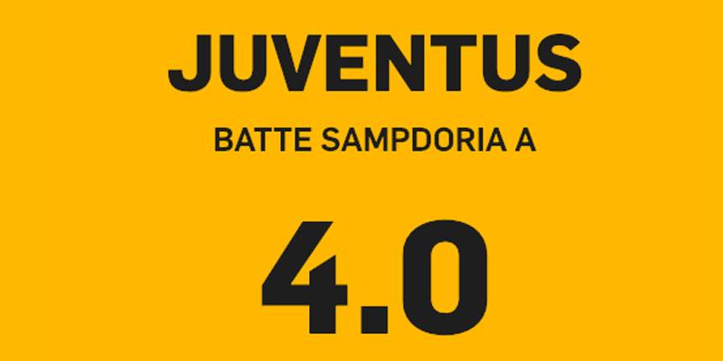 juventus sampdoria, Juventus – Sampdoria a quota 4