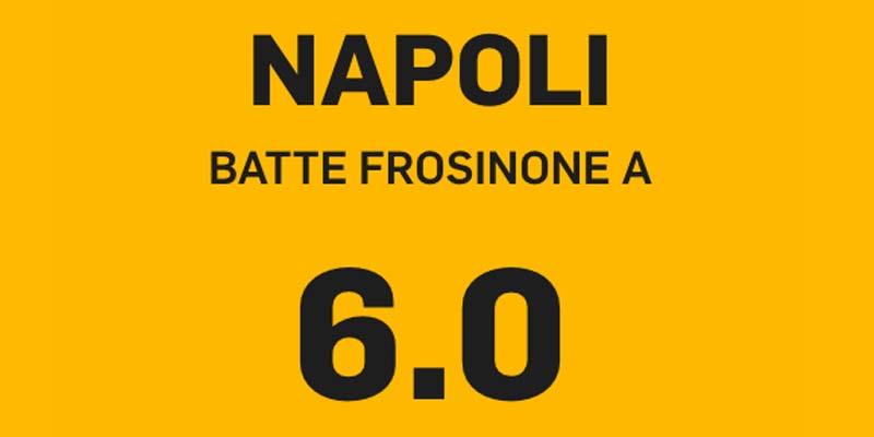 NAPOLI, NAPOLI BATTE FROSINONE A QUOTA 6