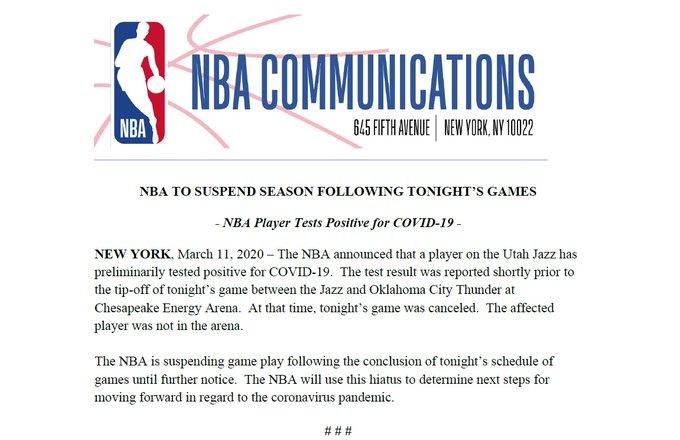 , La stagione NBA è sospesa