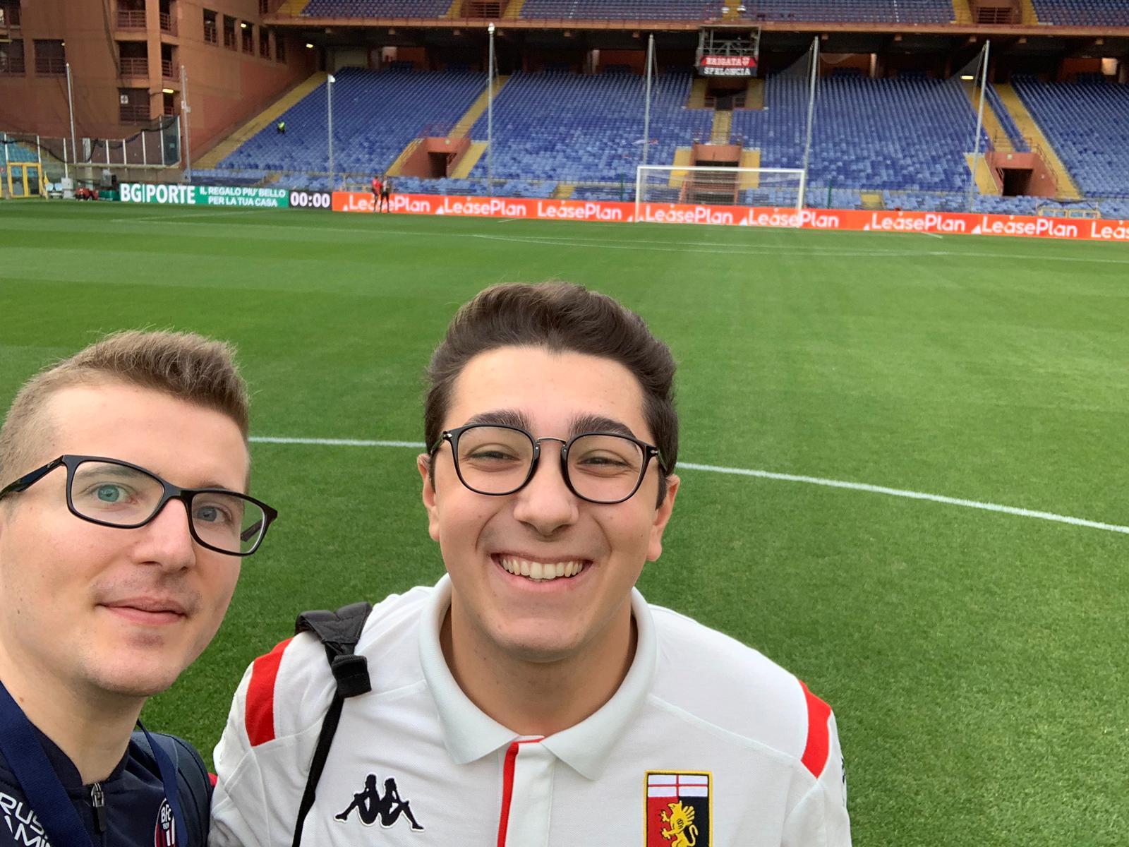I pro players sul terreno dello stadio Ferraris