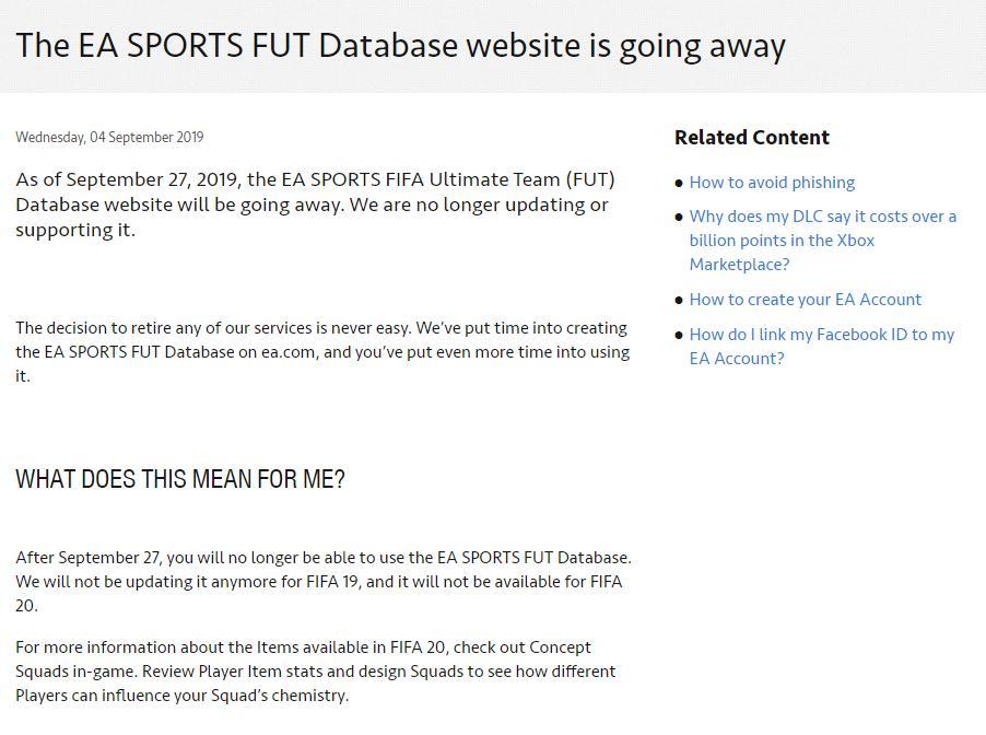 Database di FUT