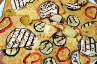 Farinata di ceci con verdure grigliate e contorno di patate al forno con rosmarino