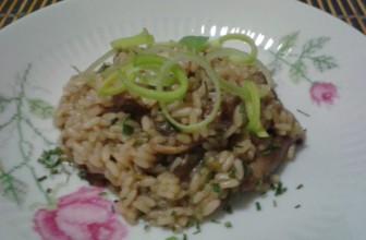 La ricetta semplice e vegan del risotto ai funghi porcini e porro.