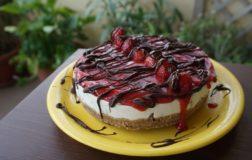 Torta gelato con gocce di cioccolato e fragole – Ricetta vegetale e senza glutine