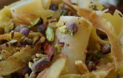 Paccheri napoletani con bastardone abruzzese, pistacchi siciliani e chips di zucca