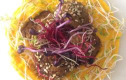 Polpette autoprodotte vegan con salsa teriyaki