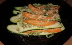 Lasagnetta crudista di zucchine e carote con pesto di broccoli siciliani e nocciole