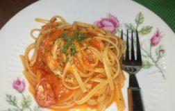 Linguine veloci alla crema di peperoni e pomodori