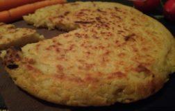 Tortilla di ceci con riso, cipolla e rosmarino