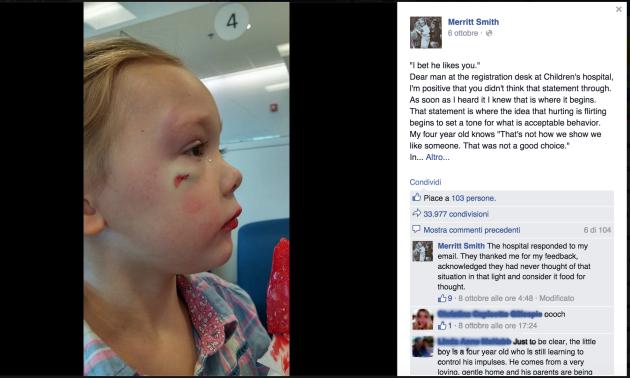 bambina picchiata da un compagno