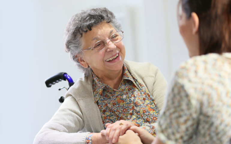 Elderly,Woman,Sharing,Good,Time,With,Home,Carer