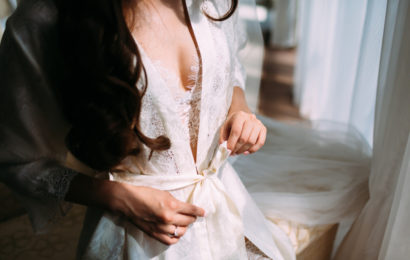 Sexual,Bride,In,Silk,And,Lace,Lingerie,Stand,Next,To