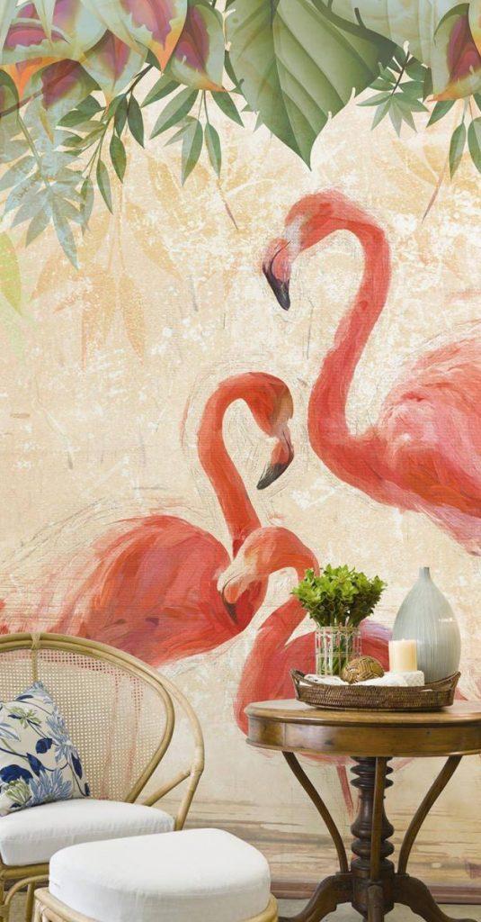 wallpepper carta da parati flamingos